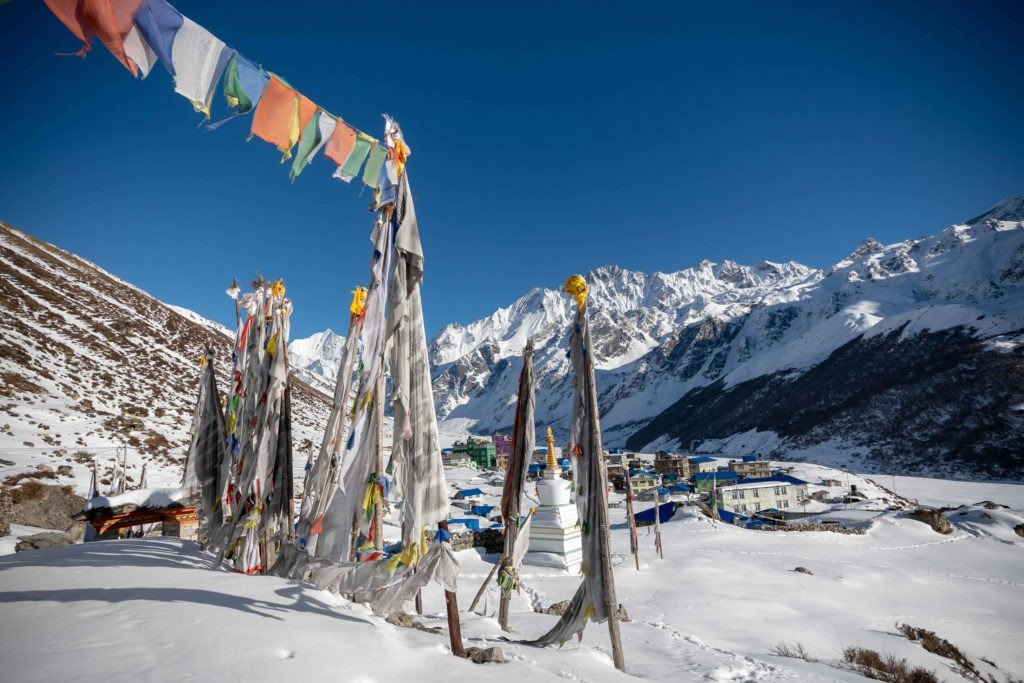 Kynging Gompa with beautiful Prayer flags